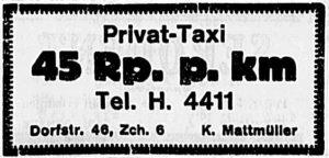 Annonce Privat-Taxi K. Mattmüller