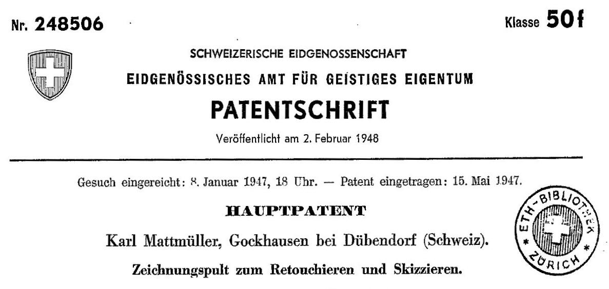 Patentschrift K. Mattmüller