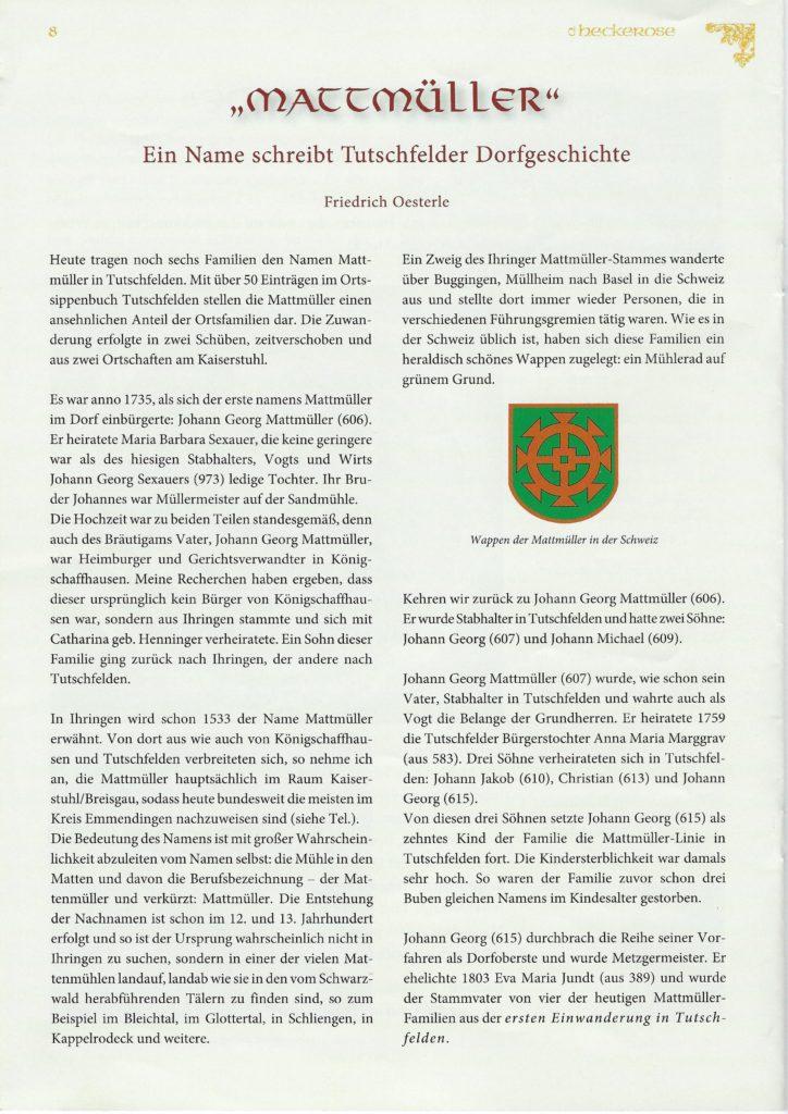 Mattmüller - Ein Name schreibt Tutschfelder Geschichte