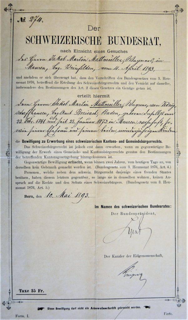 Einbürgerungsbewilligung von Jakob Martin Mattmüller
