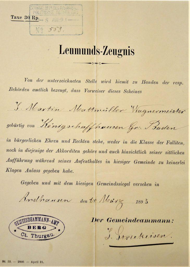 Leumundszeugnis von Jakob Martin Mattmüller
