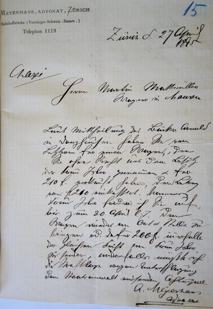 Mahnung Meyerhans an Mattmüller