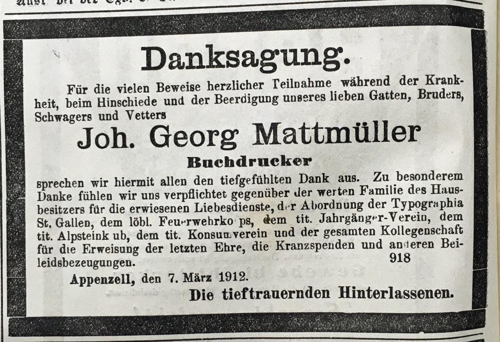 Danksagung Johann Georg Mattmüller