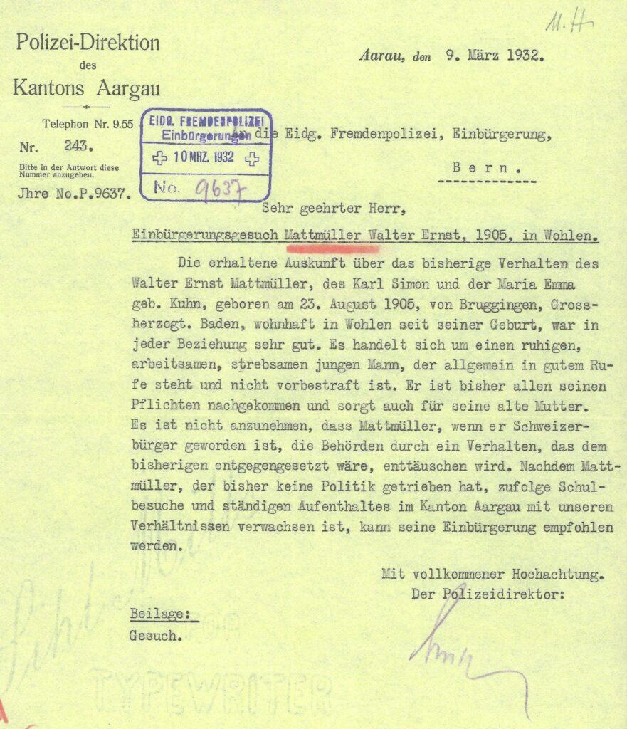 Mattmüller Walter Ernst Einbürgerungsgesuch