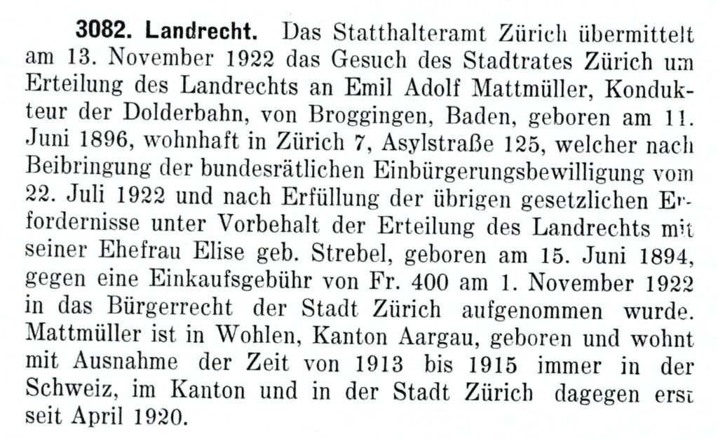 Regierungsprotokoll Einbürgerung Emil Adolf Mattmüller