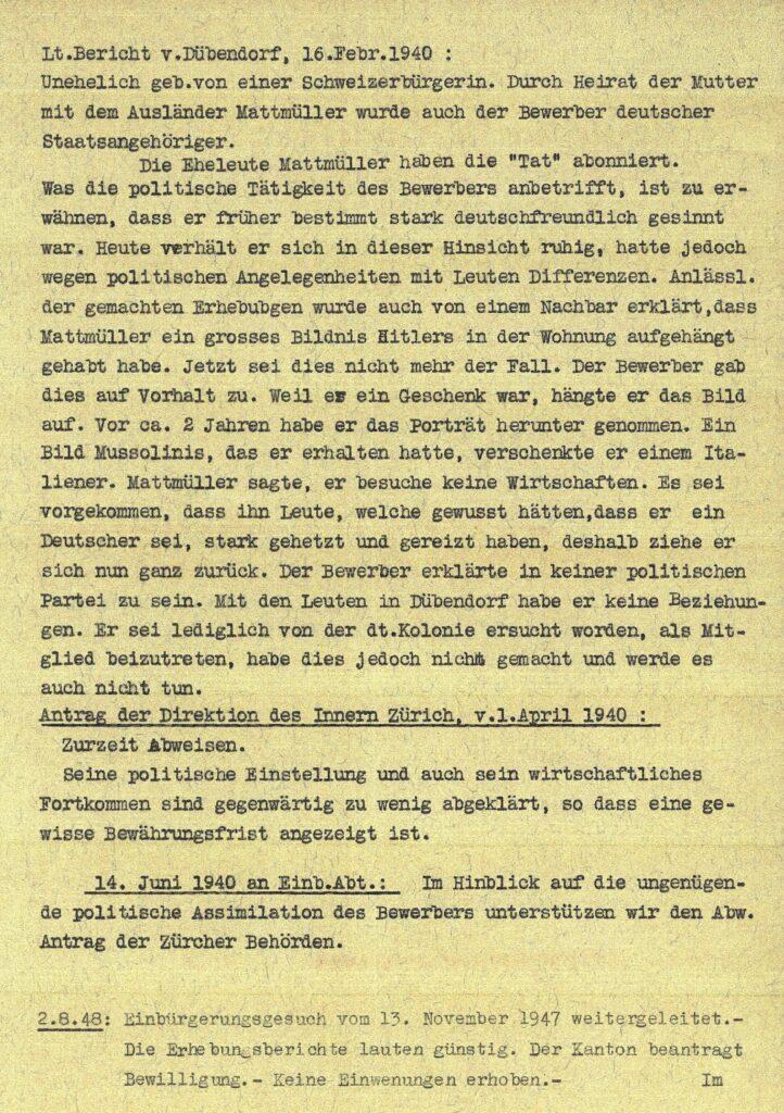 Einbürgerungsbericht Mattmüller Karl Jakob