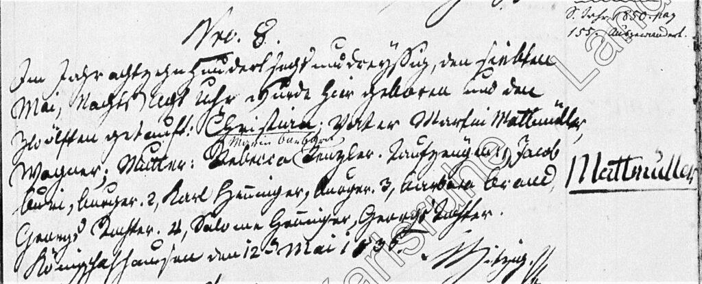 Taufeintrag Christian Mattmüller