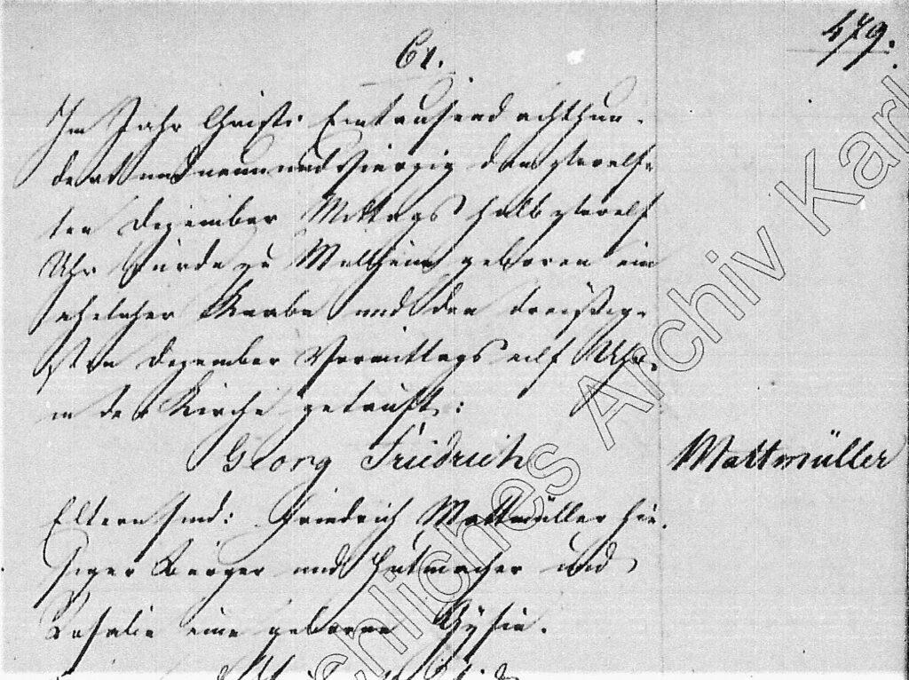 Taufeintrag Georg Friedrich Mattmüller